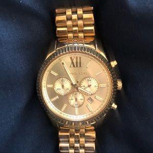 Gold Michael Kors big face watch